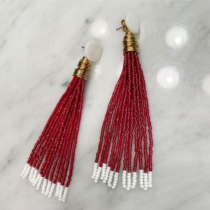 "Lindsey Eberhart 3"" Tassel Earrings -Maroon &white"